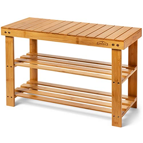 Homemaid Living Bamboo 3 Tier Shoe Rack Bench