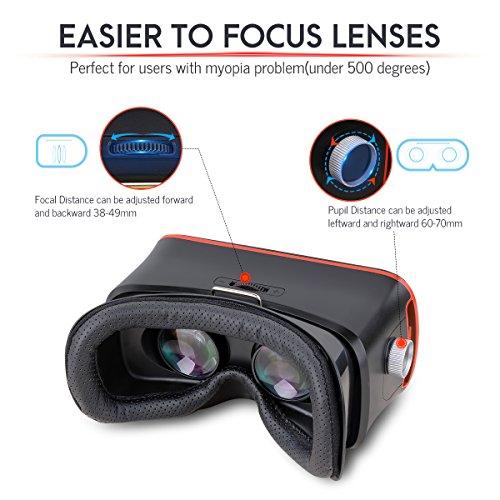 Pansonite 3D VR Gafas Realidad Virtual Auriculares para Juegos y películas 3D, Mejorado y Ligero con Ajustable Pupil y Distancia de Objeto para iOS y Android Smartphone