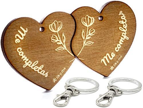 LIKY® Corazón Me Completas - Llavero Original Partido Parejas Novios de Madera Grabado Regalo para Aniversario San Valentín Mujer Hombre cumpleaños pasatiempo joyería Colgante Bolso Mochila