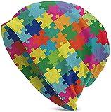 Colorful Puzzle Slouchy Beanie Hat Gorra de Invierno con Calavera para Hombres y Mujeres Regalos Negro