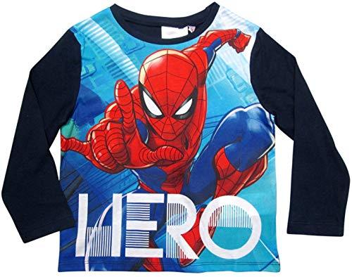 Spiderman Langarmshirt Jungen Marvel Ökotex Standard 100 (Blau, 104/110)