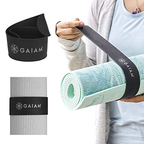 """Gaiam Yoga Mat Strap Slap Band - Keeps Your Mat Tightly Rolled and Secure, Fits Most Size Mats (20"""" L x 1.5"""" W), Black"""