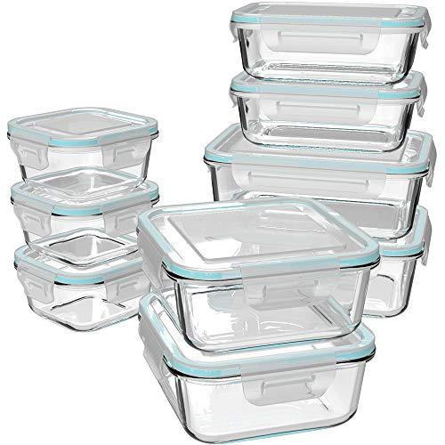 GENICOOK Glas-Frischhaltedose Set 9er, Mikrowellengeschirr Glas, glasvorratsdosen mit Deckel,Meal prep Boxen Glas, brotzeitbox Glas, vorratsdosen Glas, BPA-frei