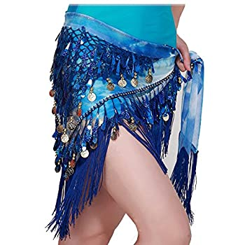 MUNAFIE Belly Dancing Belt Colorful Waist Chain Belly Dance Hip Scarf Belt Triangle Skirt  Navy