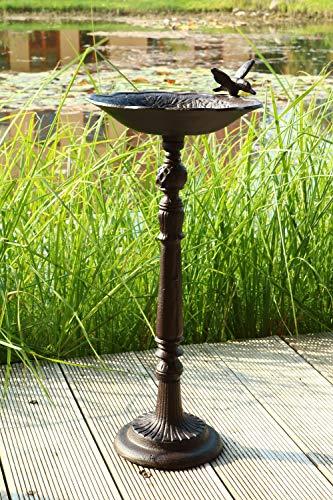 AmaCasa Bebedero para pájaros con pie macizo, bebedero para pájaros, bebedero de agua, de hierro, 52 x 28,5 x 24,5 cm