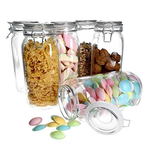 MamboCat 6-tlg. Set Vorratsgläser Foody mit Bügelverschluss 2L I Aufbewahrungsgläser mit Drahtbügel 11,5 x 11,5 x 26 cm I Bügelglas - Vorratsglas - Drahtbügelglas I Vorratsdosen luftdicht