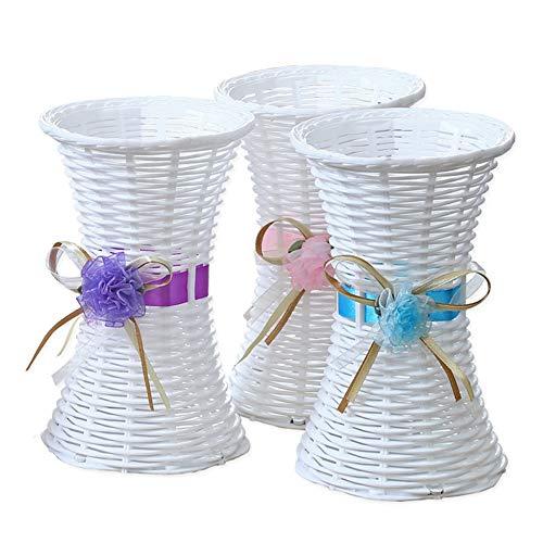 Macetas de plástico de ratán para tejer, arreglos florales para decoración del hogar, centros de mesa de bodas, jarrones de flores artificiales, 1 unidad, color aleatorio