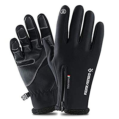 Touch Screen Waterproof Winter Gloves -30? Driving Warm Windproof All Fingers Gloves for Men Skiing and Outdoor Work Cycling fishing(Black, Small)
