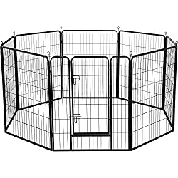 Yaheetech Heavy Duty Foldable Metal Pet Dog Puppy Cat Exercise Fence Barrier Playpen Kennel, Outdoor & Indoor,8/16/32 Panels