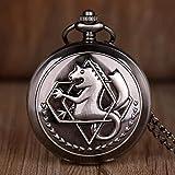 J-Love Full Metal Alchemist Dull Polish Relojes de Bolsillo Relojes de Bolsillo de Cuarzo para Hombres Los Mejores Regalos para Hombres y Mujeres