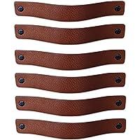 caj/ón 16,5 x 2,5 cm 3 tornillos de color Piel de Granos puerta Gris Claro // 6 piezas Tiradores de Cuero armario tiradores para Accesorio de Mobilario