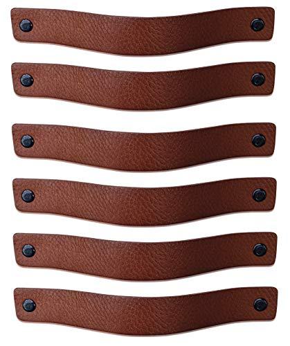 Leren handgrepen / Cognac - 6 stuks / 20 x 2,5 cm / 3 kleuren schroeven per handvat | Leren handgreep voor keukekastjes, kasten, badkamer en deur | Lederen greep