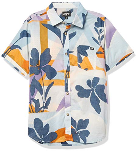 Billabong Herren Sundays Floral Short Sleeve Shirt Button Down Hemd, himmelblau, L