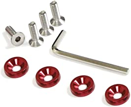 iJDMTOY (4 JDM Racing Style Red Aluminum Washers Bolts Kit for Car License Plate Frame, Fender, Bumper, Engine Bay, etc