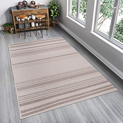Tapiso FLOORLUX Teppich Flachgewebe Strapazierfähig Sisal Optik Hellgrau Silber Streifen Linien Muster Bordüre Designer Küche 80 x 150 cm