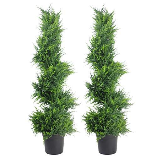 Leaf Zypresse, künstliche Formschnitte, spiralförmig, 2 Stück, Zypressenspirale, 120 cm, 1 Paar