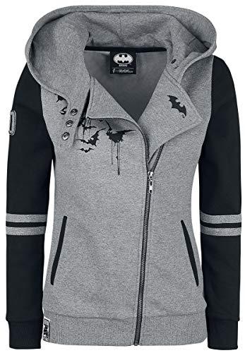 Batman Bat-Logo Mujer Capucha con cremallera gris/negro L, 70% algodón, 30% poliéster, Estrechos