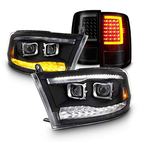 For Dodge Ram 09-18 LED Bar DRL & High/Low Projector Housing + Tail Light Tube Style Smoked Lens