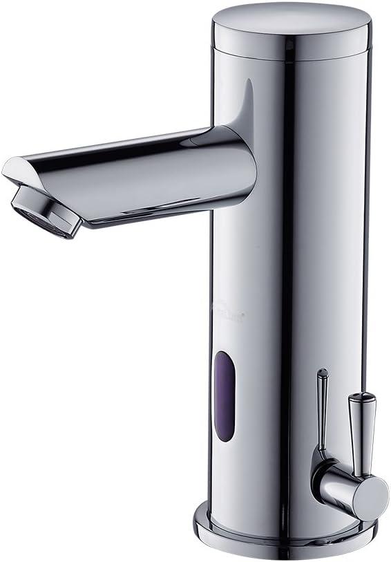 Auralum - Grifos con Sensor Automático Electrónico Mezclador Grifo de Lavabo con Sensor para Agua Caliente y Fría para Baño - Altura Total de 182mm