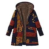 Übergröße Jacke Damen Mode Langarm Mantel Pocket Jacke MYMYG Strickjacke Skin Suits mit Kapuze Reißverschluss Taschen Sport Mantel (Blau,EU:38/CN-L)