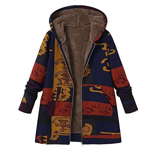 TOPKEAL Jacke Warme Mantel Damen Herbst Winter Sweatshirt Blumendruck mit Kapuze Kapuzenjacke Hoodie Taschen Pullover Übergroße Outwear Coats Mode Tops (Blau-5, XXXL)
