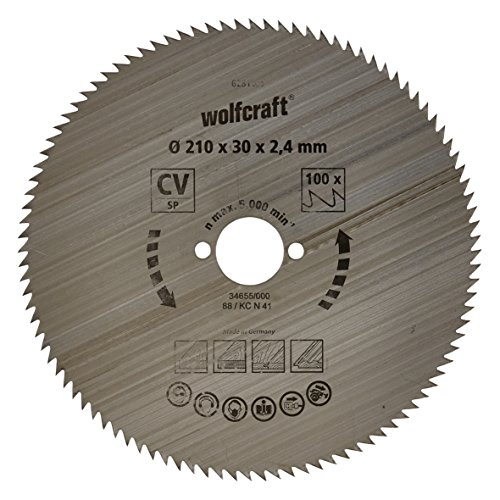 Wolfcraft 6281000 6281000-1 Hoja de Sierra Circular CV, 100 dient, Serie Azul diam. 210 x 30 x 2,4 mm, 210x30x2.4mm