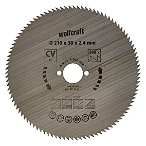 Wolfcraft 6281000 - Disco de sierra circular CV, 100 dient., serie azul Ø 210 x 30 x 2,4 mm para ingletadora