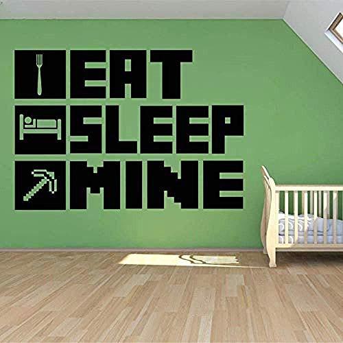 Eat Sleep My Gaming Poster Etiqueta De La Pared Para La Decoración De La Habitación Del Niño Mural Minecraft Vinyl House Sticker Decoración Del Dormitorio 57X77 Cm