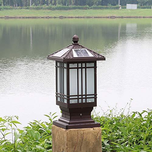 WFZRXFC Solar Outdoor Semplicità Lampione Villa Cortile Giardino Recinzione Paletto Lanterna Lampione da esterno Crepuscolo all'alba Lampada a colonna Illuminazione paesaggistica Illuminazione stradal