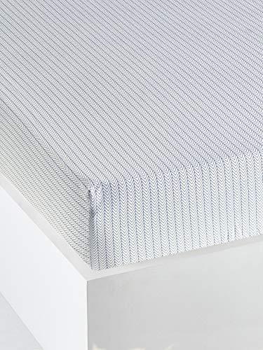 Vertbaudet Spannbetttuch für Kinder Alpin 90 x 200 cm Weiß klar gemustert