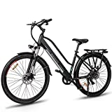 Macwheel Electric Bike, 350W Ebike Cruiser-550 Electric Bicycle, Removable 360Wh 36V/10Ah Lithium Battery, Shimano 7-Speed, Suspension Fork, Trekking Electric Bike Black