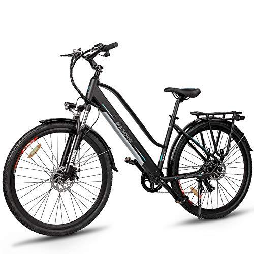Macwheel 700C Electric Bike, 350W Brushless Hub Motor, Removable 360Wh 36V/10Ah Lithium Battery, Shimano 7-Speed, Suspension Fork, Trekking Electric Bike