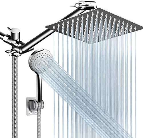 Shower Head Combo 8 Inch High Pressure Rain Shower Head with 11 Inch Adjustable Extension Arm product image