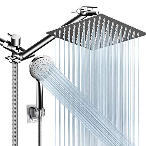 Shower Head Combo,8 Inch High Pressure Rain Shower Head with 11 Inch Adjustable Extension Arm and 5 Settings Handheld Shower Head Combo,Powerful Shower Spray Against Low Pressure Water with Long Hose