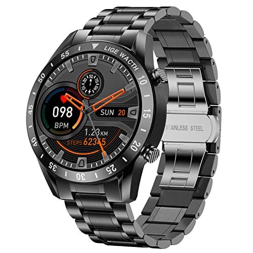 LIGE Smartwatch Herren, Fitness Tracker IP67 wasserdichte mit Blutdruck Herzfrequenz Schlafmonitor Schrittzähler Stoppuhr Bluetooth Smartwatch Männer für Android IOS