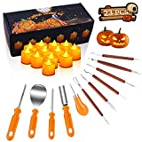 Halloween Pumpkin Carving Kit, 11 Pieces Pumpkin Carving Tools Sets with 12 Pumpkin LED Candles Lights, Professional Heavy Duty Stainless Steel Pumpkin Cutting Knife Supplies for Halloween Decoration
