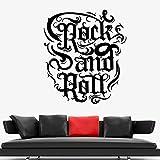 supmsds Rock'n'Roll Vinyl Wall Decal Night Club Letrero Music Quote Wall Stickers Bar Decoración del hogar Accesorios para Sala de Estar 85.5x97.5cm
