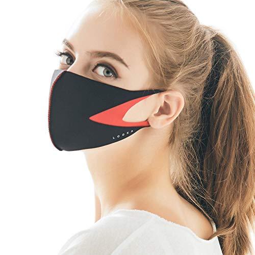 LOOKA | Protective Fashion Air Mask | Washable and Reusable | SLIT Red (Medium)