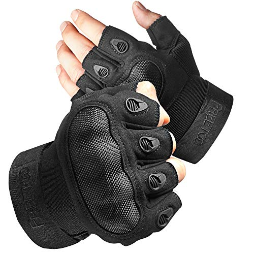 FREETOO Fingerless Tactical Gloves for Men Military Airsoft Gloves for Shooting Cycling Rubber Knuckle Outdoor Touchscreen Gloves (Black Fingerless)