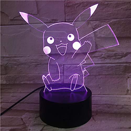 Pokemon Go Pikachu Figur Kids Night Nachttischlampe LED Luminaria Buntes Nachtlicht Kind Urlaub Kinder Geschenk 3D Nachtlicht Pikachu