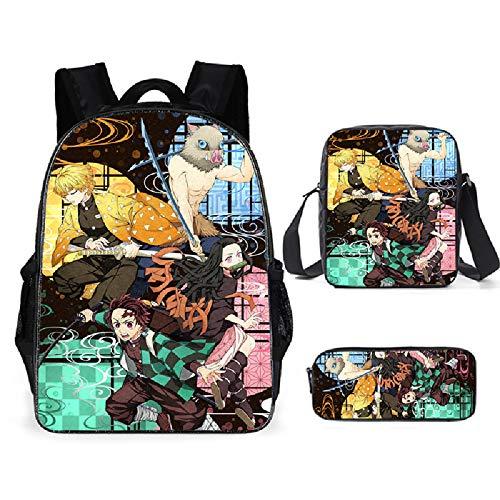 3 Pcs Demon Slayer Anime Backpack,School Bags Waterproof Travel Backpack Anime Laptop Bagpack Bookbag for Teen Girls Boys (22)