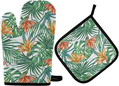 Juego de manoplas para horno con diseño de flores y hojas de palma tropicales impresas, resistentes al calor, lavables, guantes de barbacoa para cocinar a la parrilla