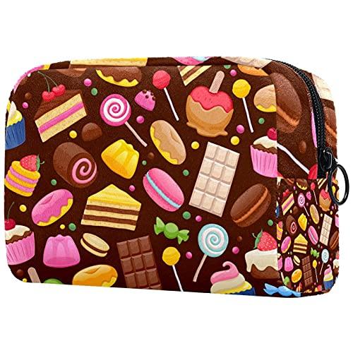 Trousse de Maquillage Sacs à cosmétiques de Voyage Portables, Beignet Chocolat Cupcake Sucette