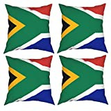 YIRONGCG South Africa Flag Throw Pillow Covers 18x18 Inch Set of 4 Modern Decorative Pillow Case Cushion Case for Couch Sofa Bed Car Bedroom Living Room