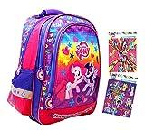 My little Pony - Super zaino / zaino scuola - 38 x 27 x 18 cm - adatto per A4 - Motivo: Pinkie Pie & Twilight Sparkle + 16 adesivi - per scuola, sport + tempo libero