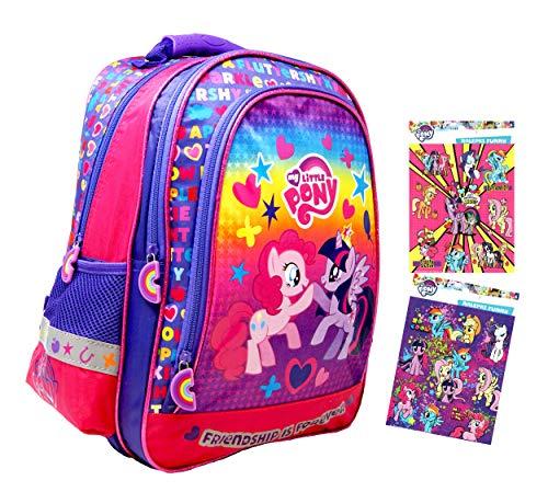 My little Pony - Super Rucksack/Schulrucksack - 38 x 27 x 18cm - passend für DIN A4 - Motiv: Pinkie Pie & Twilight Sparkle + 16 Sticker - für Schule, Sport + Freizeit