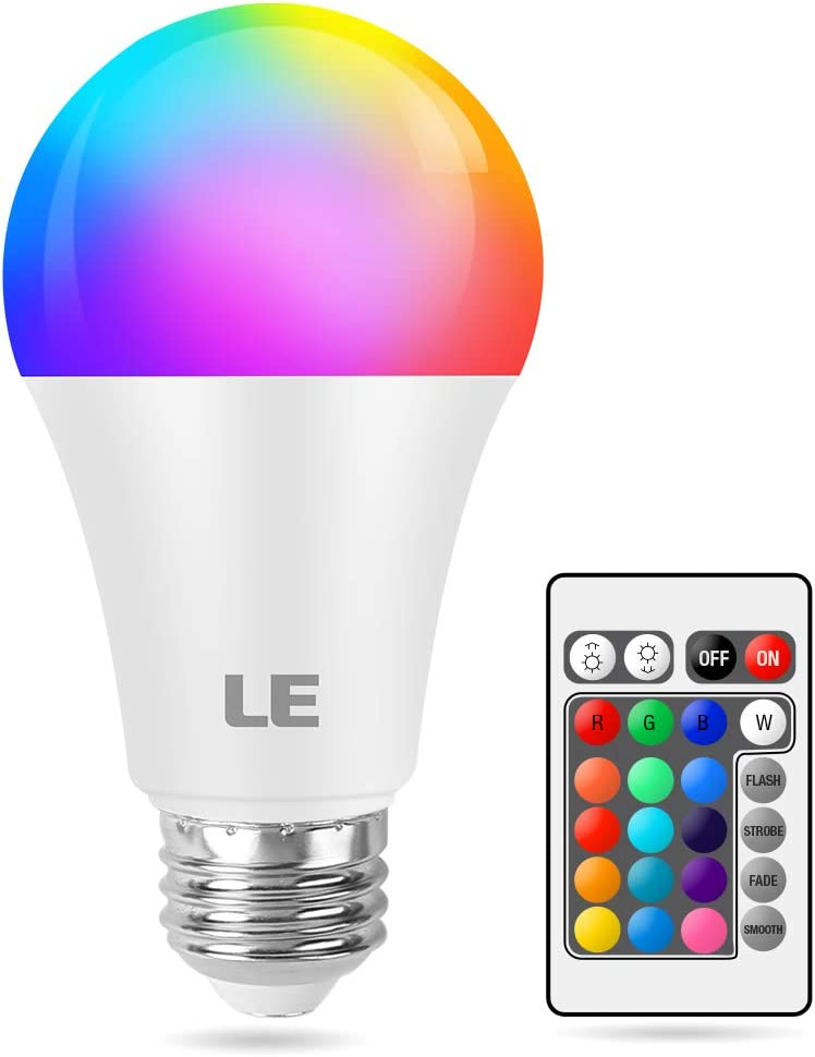 LE 9W Color Changing Light Bulbs with Remote, Dimmable LED Light Bulb, 60W Equivalent 806 Lumens Warm White, RGB Decorative Lighting for Home Bar Party Bedroom, A19 E26 Screw Base