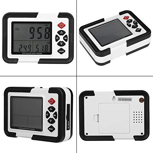 CO2-Detektor - HT-2000 Digitaler CO2-Messdetektor 9999ppm Datenlogger zur Überwachung der Temperatur und relativen Luftfeuchtigkeit 0~9999