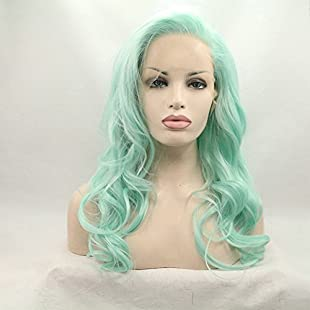 """22"""" Pure Color Hair For Cosplay Long Pastel Green Synthetic Wigs Body Wave Hairstyel Soft Mint Green Lace Front Wig High Temperature Handmade Side Part Women Hair Natural Hairline"""