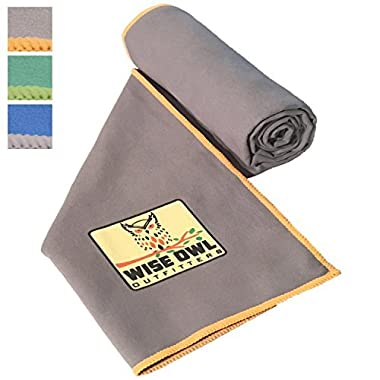 Wise Owl Outfitters Camping Towel by Ultra Soft Compact Quick Dry Microfiber - Great for Fitness, Hiking, Yoga, Travel, Sports, Backpacking & The Gym - Free Bonus Hand Towel 30x60 GY